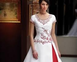 discount modest red and white wedding dress exquisite short