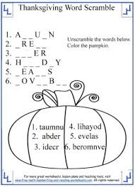 thanksgiving activities for word scrambles