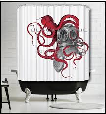 Sourpuss Shower Curtain Red Octopus Playing With Diver Helmet Shower Curtain Red Kraken