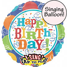 singing balloon streamers happy birthday singing balloon delivered inflated in uk