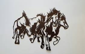Horse Home Decor by Amazon Com Horses Running Metal Wall Art Country Rustic Home