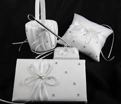 wedding guest register white sach bow ribbon wedding guest register book ring pillow