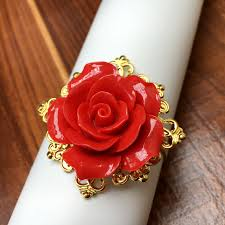 red rose rings images 50pieces red rose flower decor gold napkin rings holder hoops jpg