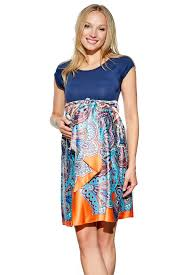 maternal america scoop neck front tie maternity dress in navy paisley print