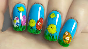 easy and cute easter nails freehand nail art tutorial youtube