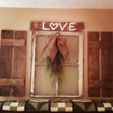 Primitive Decorations For The Home Old Window With Pallet Shutters For The Home Pinterest