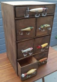 antique fishing lure cabinet