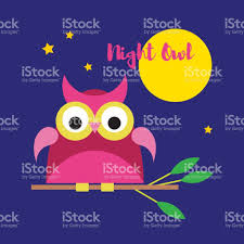 seamless vector background with decorative owls moonlit night
