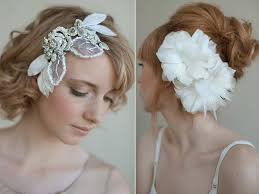 bridal hair accessories with feathers pearls and rhinestones