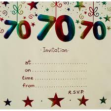 70th birthday party invitations with envelopes x10 birthday