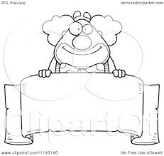 cartoon clipart of a black and white banner and chubby circus
