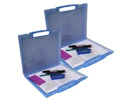 Purple Desk Organizers 2 Pack Clear Plastic Document Cases File Holders Desk Paper