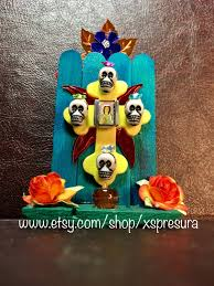 mexican folk art shrine miniature crucifix retablo