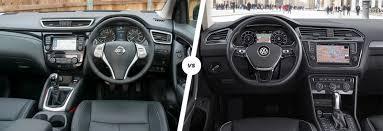 volkswagen tiguan black interior nissan qashqai vs vw tiguan suv comparison carwow