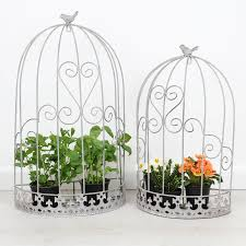 set of two wall bird cage plant holders by dibor