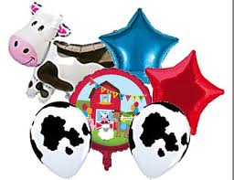 cow print balloons farmhouse barnyard birthday balloon bouquet farm birthday cow