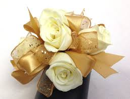 wedding flowers seattle gold and ivory wrist corsage by ballard blossom prom and wedding