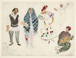 marc chagall a street dancer and gypsies costume design for aleko