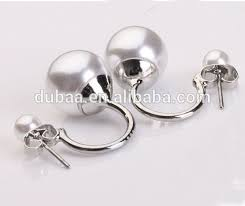 two sided earrings 2014 2015 hot fashion popular doube pearls earrings two way pearl