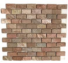 Tumbled Slate Backsplash by Slate Mosaic 1 X 2 Copper Quartz Slate Brick Subway Mosaic Tumbled