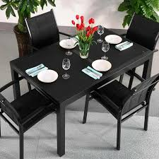 4 Seat Dining Table And Chairs Dining Table Set Black 4 Person Aluminium Glass
