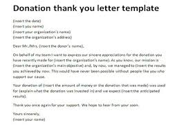 donation thank you letter template appreciation letter sles