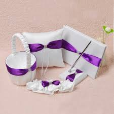 purple wedding guest book white purple satin wedding guest book pen set ring