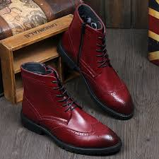 new 2015 british style men leather boots ankle riding boots high