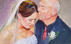 father and bride pastel portrait