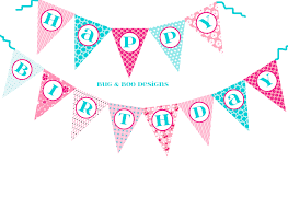 Banners Flags Pennants Happy Birthday Cherry Blossom Pennant Banner Diy Digital Printable
