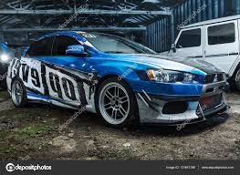 blue mitsubishi lancer mitsubishi lancer evolution x tuning u2013 stock editorial photo