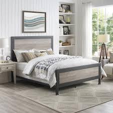 walker edison furniture company queen size grey wash industrial