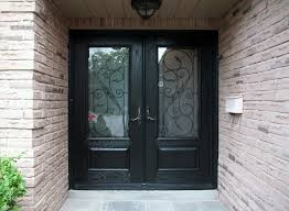 Exterior Entry Doors With Glass Glass Front Doors With Black Wooden Frames Connected By