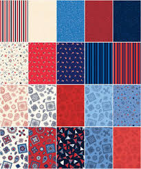 5 yard fabric quarter medley hometown summer flags patriotic