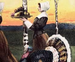 pilgrims thanksgiving feast 1908 p sander postcard pilgrims gather for thanksgiving feast