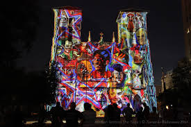san fernando cathedral light show the saga a color picture laser light show on the front of san