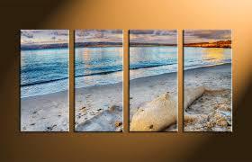 4 piece sand ocean blue canvas print