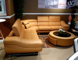 orange modern sectional sofa b68 leather sectionals