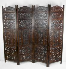 4 panel hand carved indian screen wooden leaves design screen room