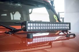 jeep jk hood led light bar kc hilites 20 c20 led hood mount system for 2007 2018 jeep jk