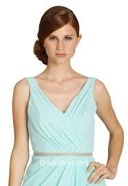 draped v neck sleeveless ice blue chiffon a line short bridesmaid