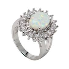 natural white opal natural white australian fire jewelry gem 925 silver ring size 6 7