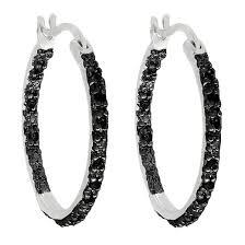 1 4 ct t w black diamond hoop earrings in sterling silver i2 i3