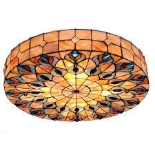 peacock pattern stained glass ceiling lights