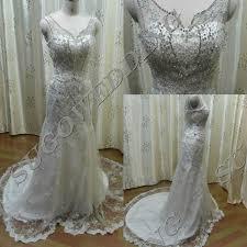 wedding dress trim luxury white v neck straps mermaid wedding dress bridal