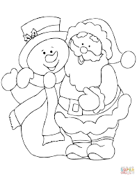 santa claus with snowman coloring page free printable coloring pages
