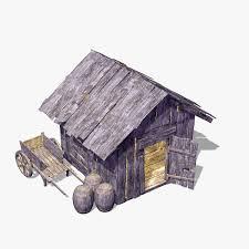 wooden hut 3d max