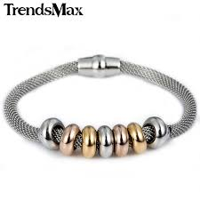 bracelet magnetic stainless steel images Trendsmax 4mm womens girls yellow rose gold silver tone beads mesh jpg