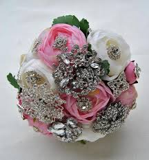 brooch bouquet pink ivory brooch bouquet with silver brooches