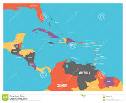 map of america with country names central america and carribean states political map with country